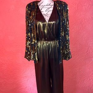 🌛⭐️NWT Studio 54 Style Gold Lame Jumpsuit